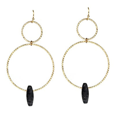 Black Natural Stone Hoop Earrings