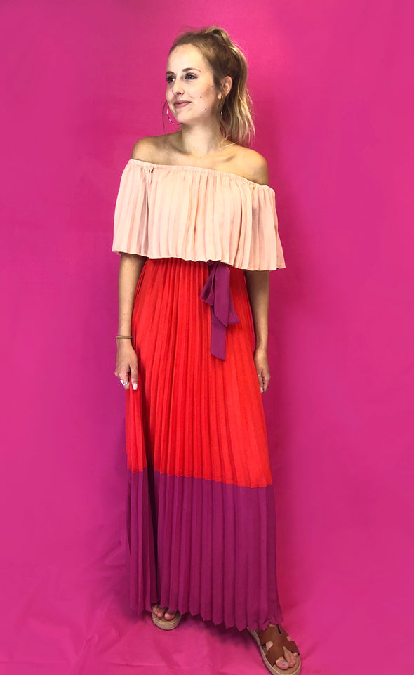 Watching Sunsets Pleated Maxi Dress