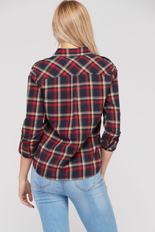 Right Time Of Night Flannel Top -Navy