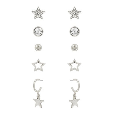Star and Crystal Stud with Hoop Earrings Set - Multiple Colors