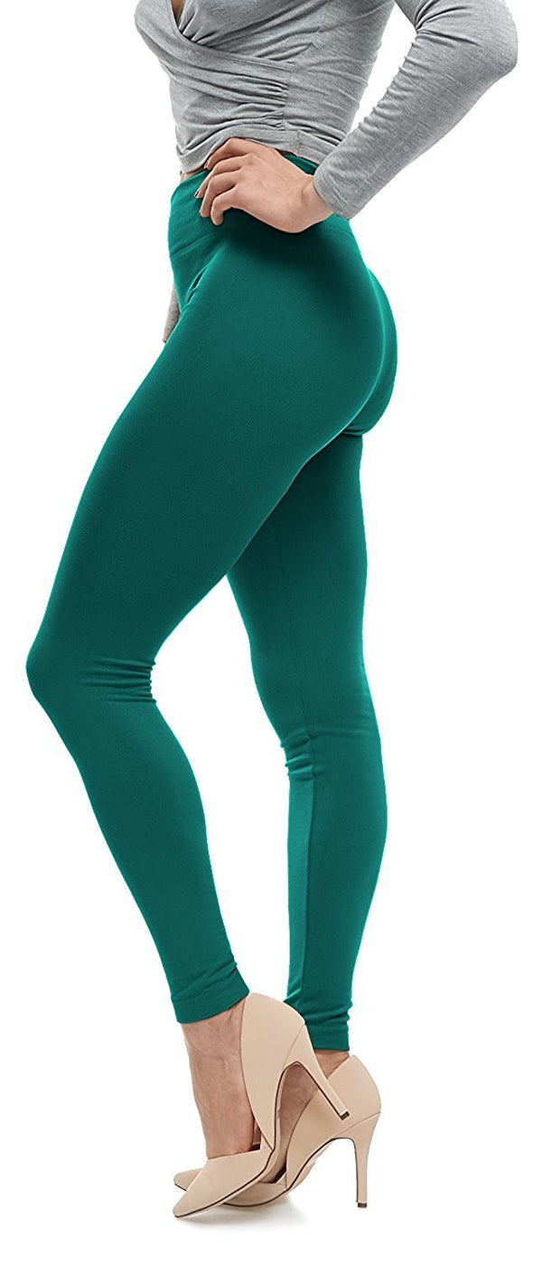 Fleece Leggings - Dark Green One Size