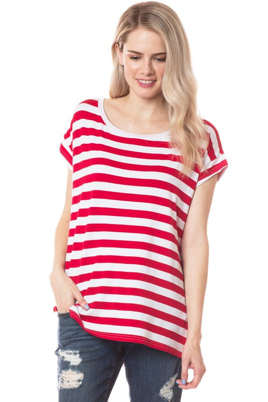 Talk With Me Striped Piko Top - Red