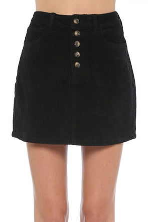 My Heart Corduroy Skirt - Black