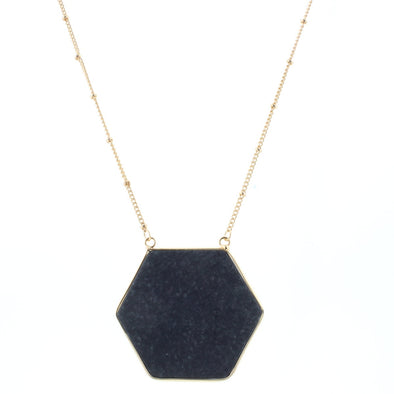 Caddie Collection Necklace - Black Hexagon