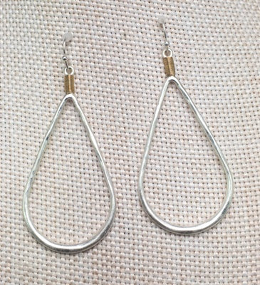Worn Silver Teardrop Earrings