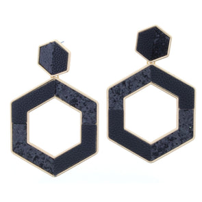 Remi Earring Collection - Black Leather and Glitter Hexagon