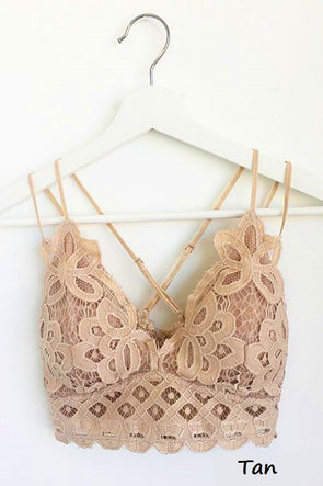 Luxe in Lace Bralette - Plus Size - Tan