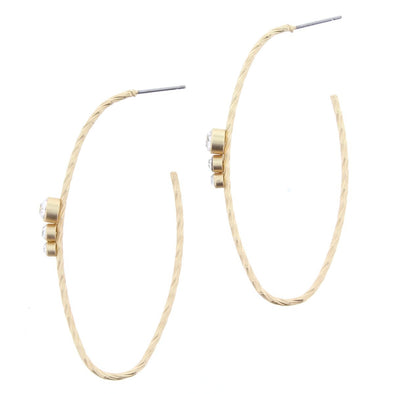 Luminous Earring Collection - Oval Rhinestone Hoop