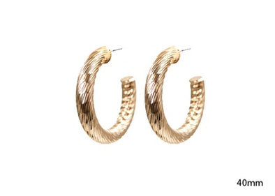Hammered Gold Post Hoop Earring