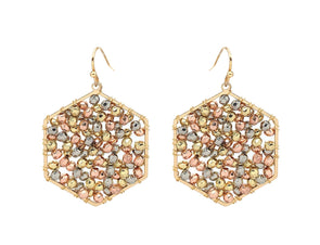 Beaded Hexagon Earring