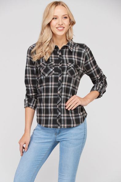 Right Time Of Night Flannel Top - Black