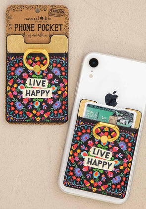 Live Happy Phone Pocket Ring