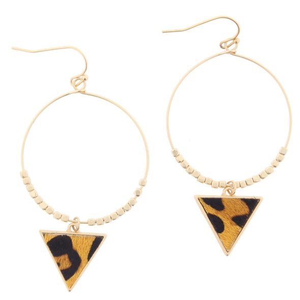 Remi Earring Collection -  Hoop with Leopard Triangle