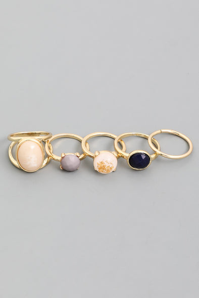 Round Gemstone Ring Set