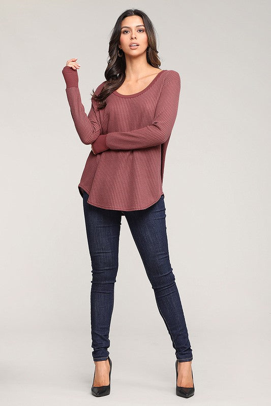 When Cozy Calls Waffle Knit Top - Wine