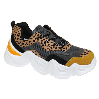 Wild Cheetah Suede Tennis Shoes