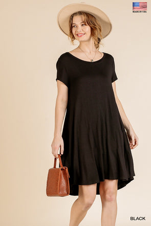 Anything Tonight Pocket Tee Dress - Black