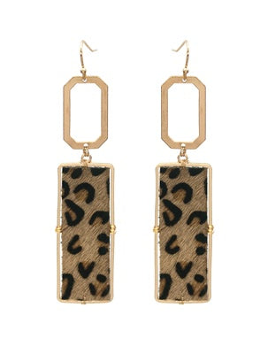 Cheetah Print Rectangle Earrings