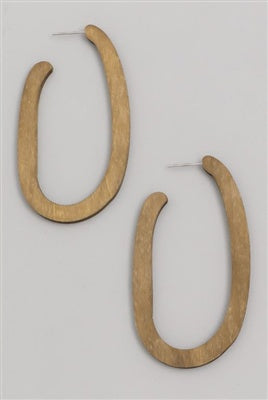 Natural Brown Wood Oval Earrings