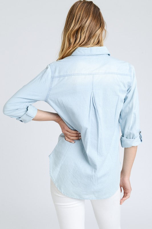 Pull It Together Denim Top - Light