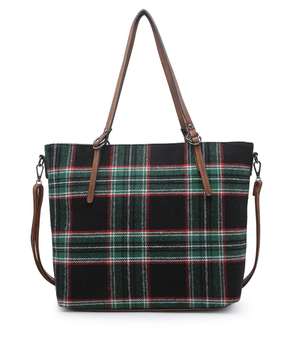 Ingrid Plaid Tote - Plaid-Black/Green