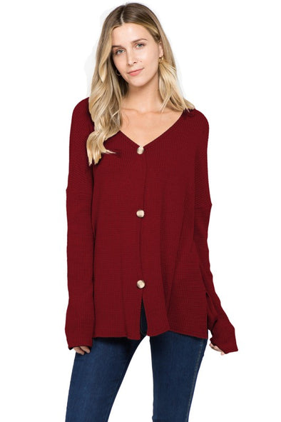Knit For You Top - Burgundy