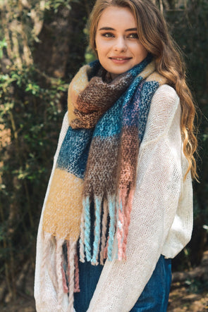 Cuddle Color Block Oversized Scarf