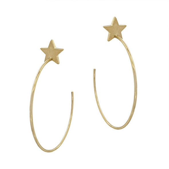 Calling Your Name Star Hoop Earring