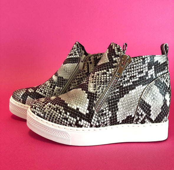 Rise Wedge Sneaker - Black Snakeskin