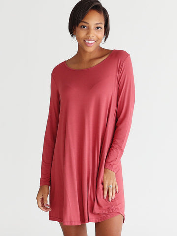 Close to Perfect Piko Dress - Marsala