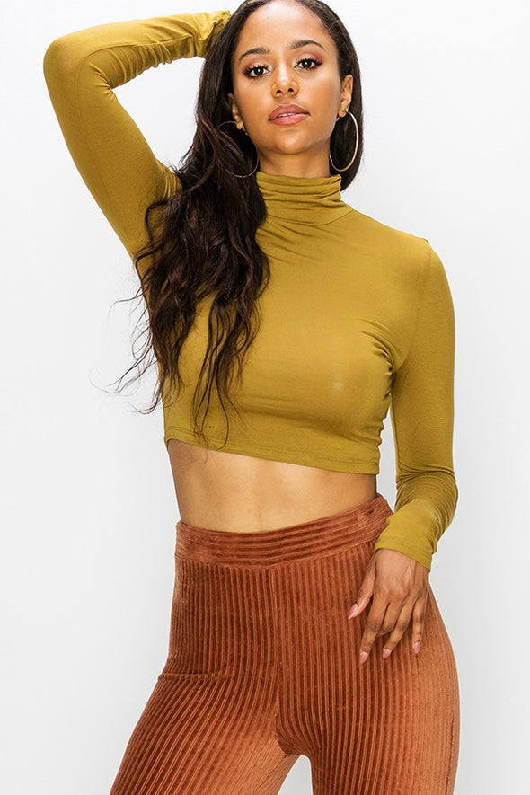 Busy Days Cropped Turtleneck Top