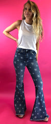 Star Print Super Flare Jeans