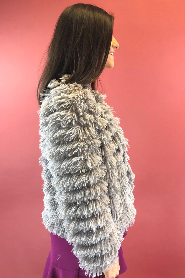 Life of the Party Faux Fur Jacket - Grey