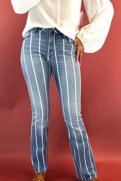 Follow You Stripe Flare Jeans