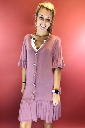 What I Like Button Down Dress - Mauve