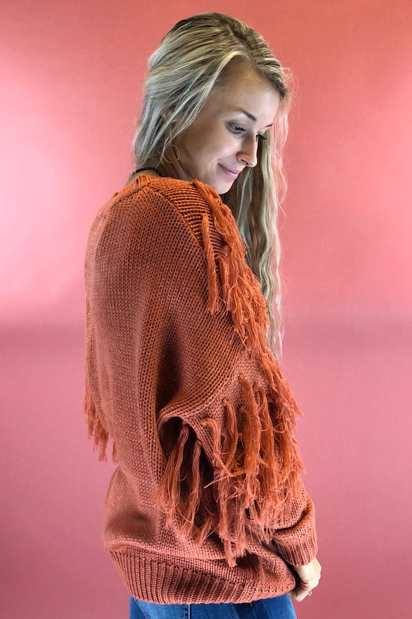 Burnt Orange Tassel Sweater