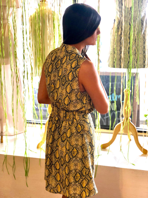 Too Late Snake Print Dress