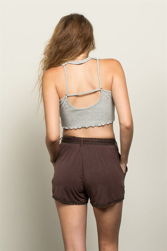 Getaway Time Crop Top - Grey