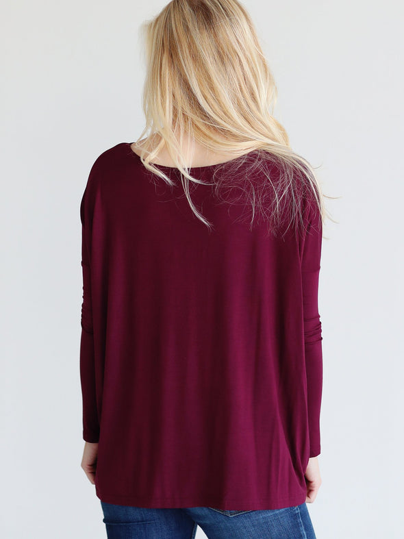 Close to Perfect Piko Top - Dark Maroon
