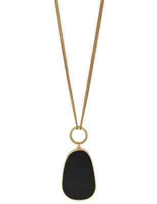 Black Wood Oval Necklace