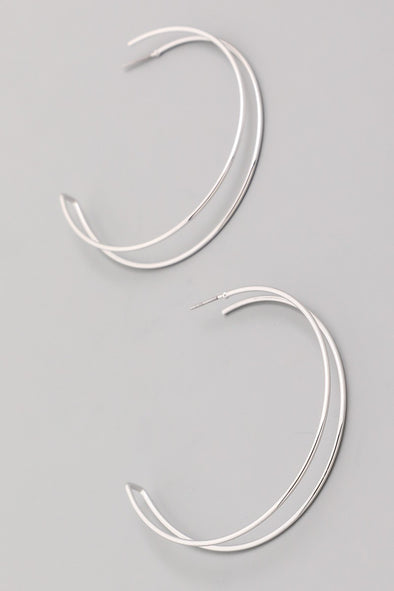 Double Hoop Earrings Silver