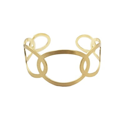 Gold Open Circle Layered Cuff Bracelet