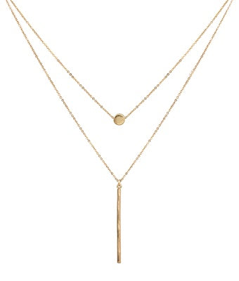 Matte Gold Circle and Bar Layer Necklace