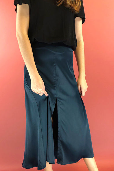 Needed Me Satin Midi Skirt