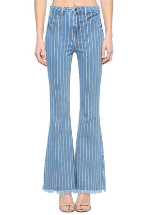Don't Go Stripe Flare Jeans