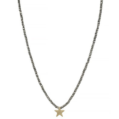 Grey Crystal Gold Star Necklace
