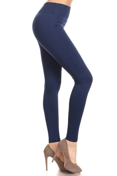Fleece Leggings - Navy One Size
