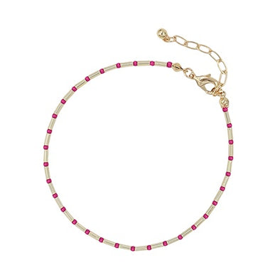 Seed Bead and Gold Anklet