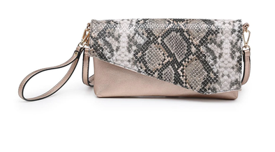 Margot Clutch - Python-Rose Gold