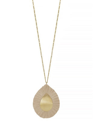 Light Brown Fringe Teardrop Necklace